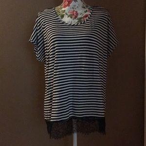 Avenue 14/16 | Navy & White Striped Lace Trim Top